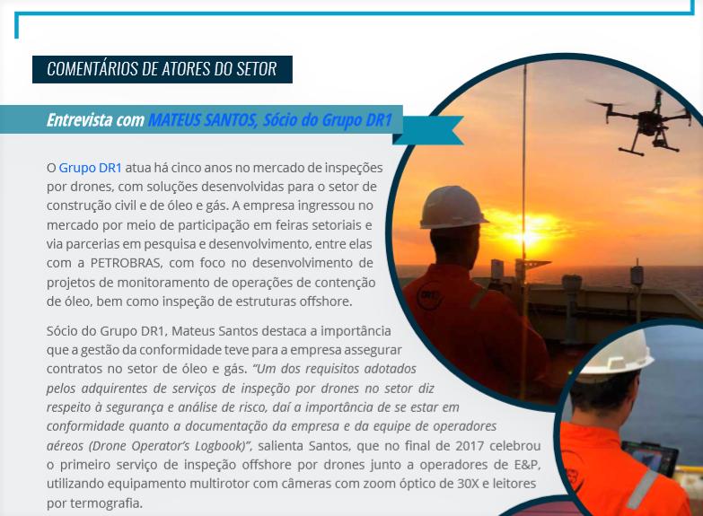 SEBRAE convidou o Grupo DR1 para comentar no Relatório de Inteligência sobre o mercado de drones